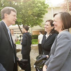 Greg Nolte, left talks with former colleagues Tanise Chung-Hoon, managing director of LDS Philanthropies, and Jennifer Amott, right, donor liaison at LDS Philanthropies, following the groundbreaking ceremony for a new engineering building at BYU in Provo on Monday, May 9, 2016. The new building was entirely funded by donors.