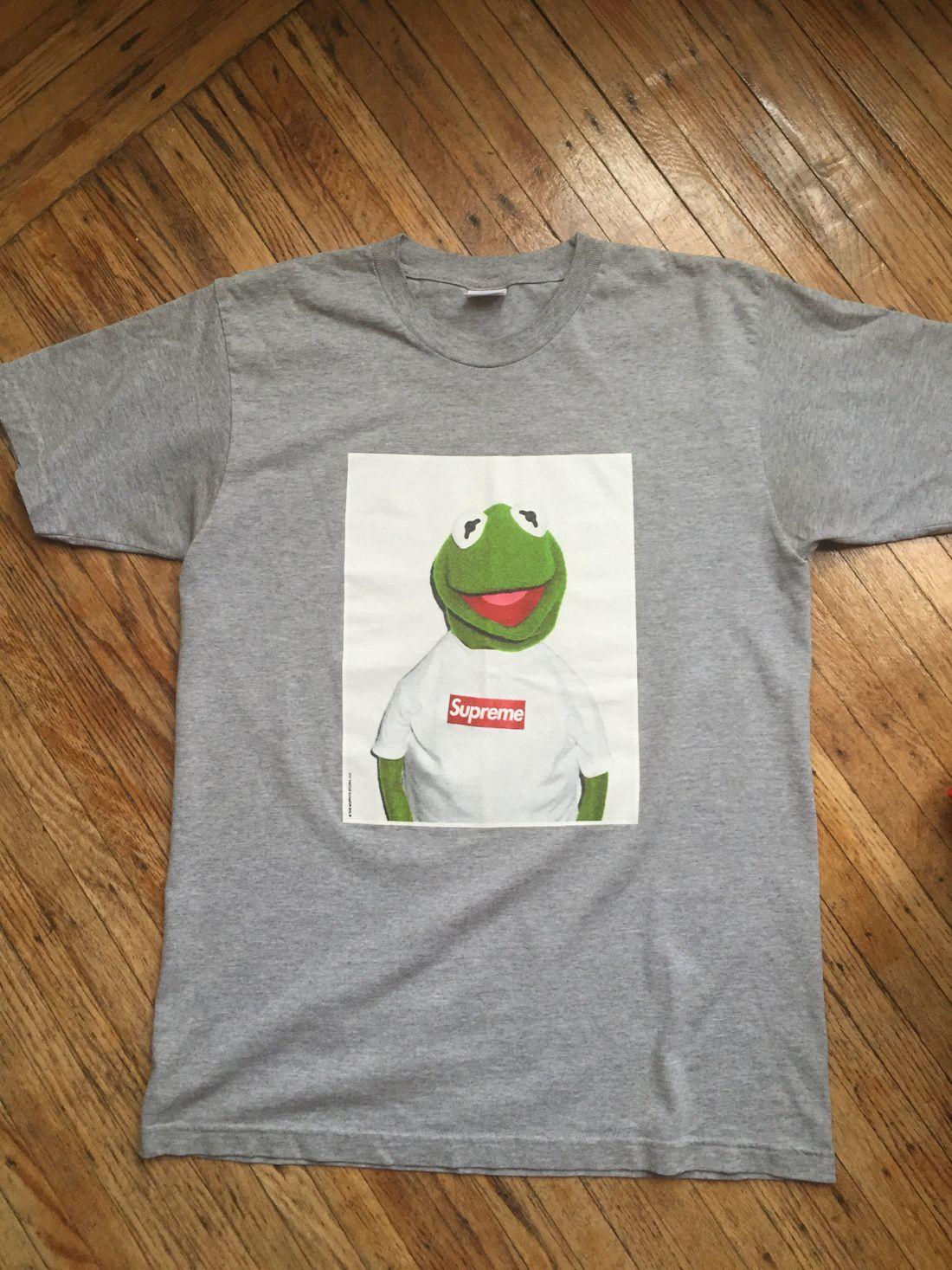 A T-shirt featuring Kermit the Frog wearing a Supreme box logo T-shirt