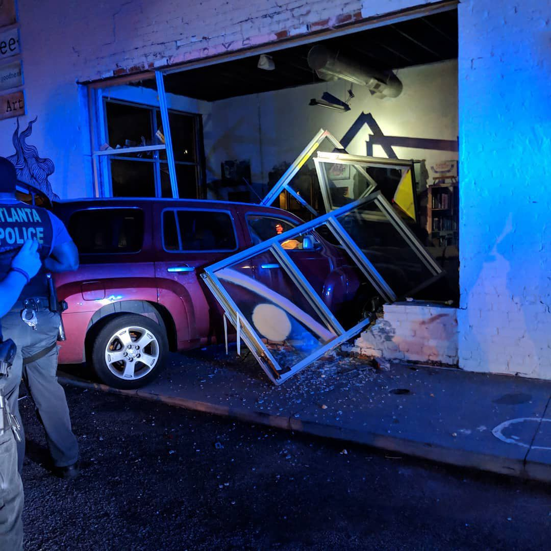 The car crashed into Hodgepodge Coffeehouse on Moreland Avenue late Saturday night
