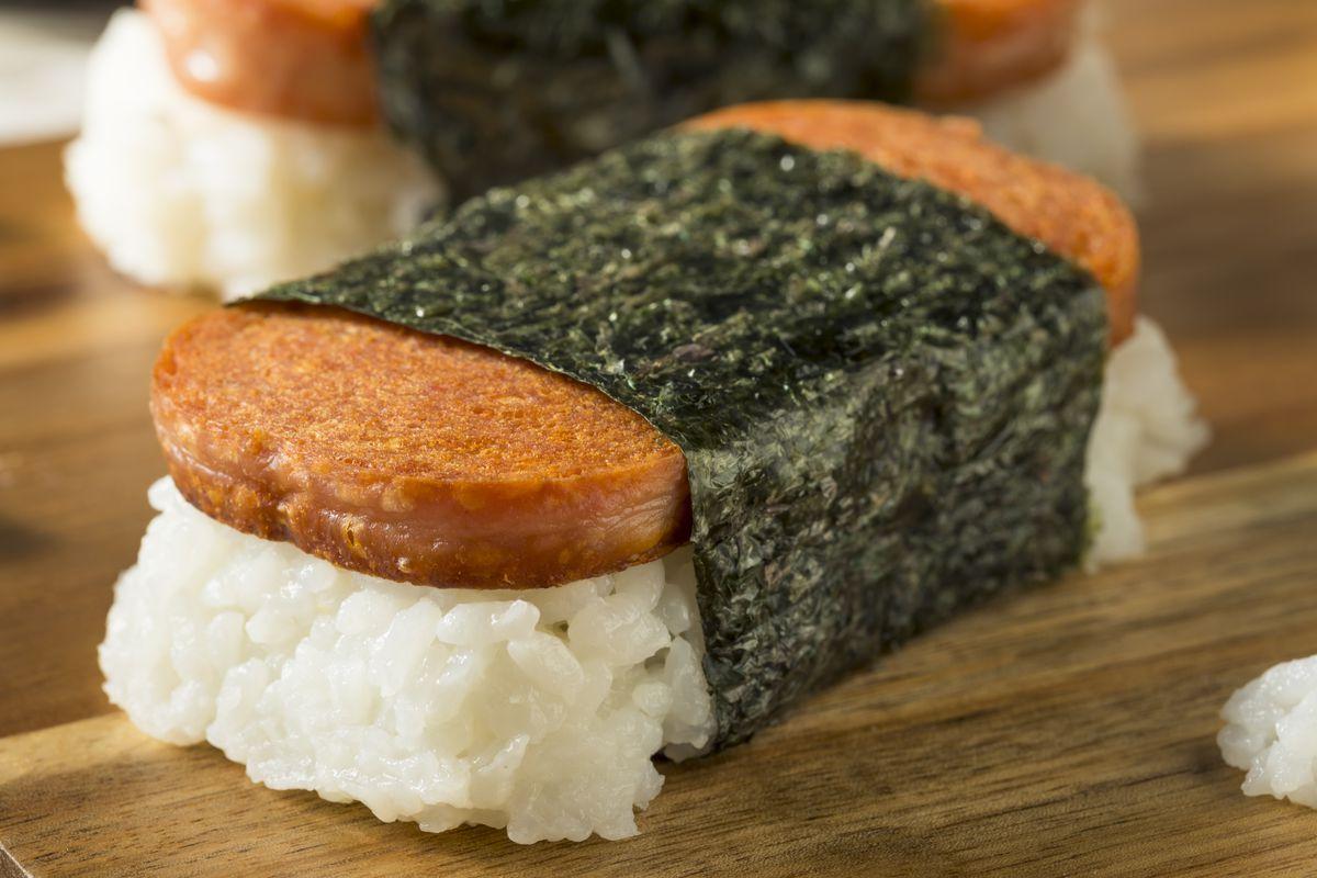 Musubi, a Hawaiian snack made with Spam, rice, and nori