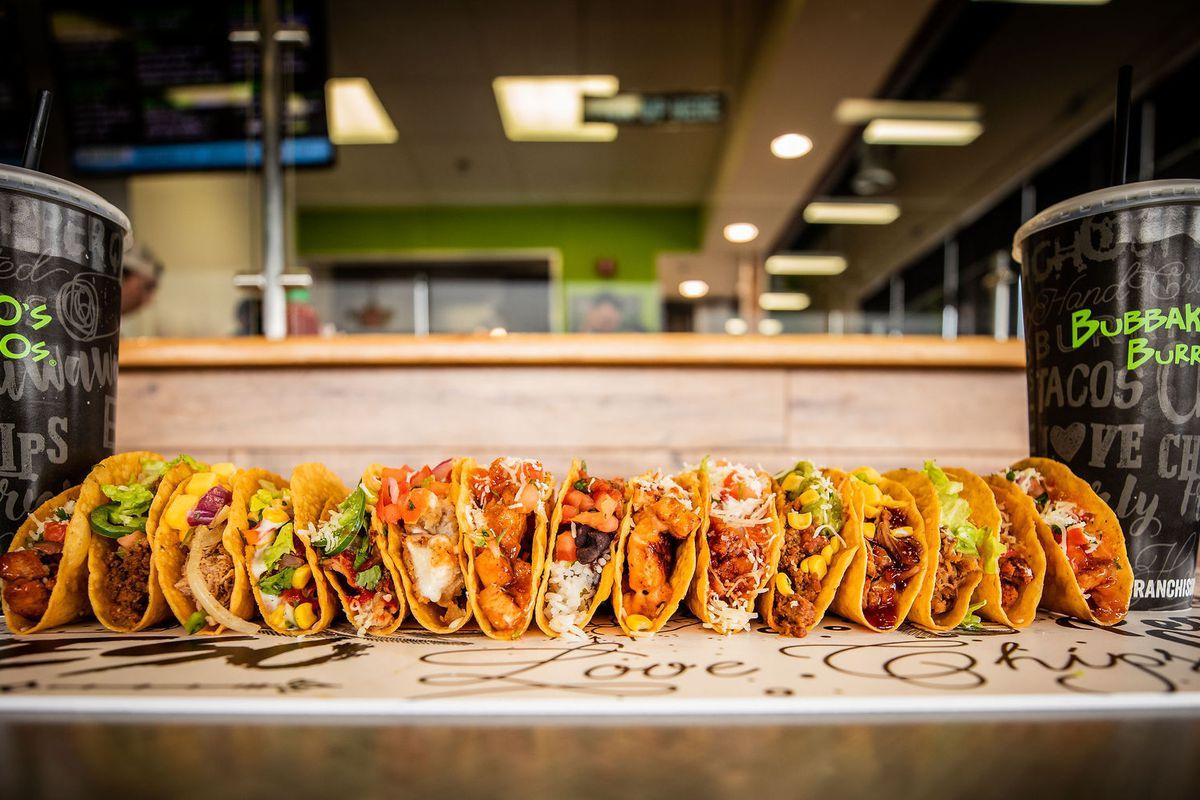 A row of tacos
