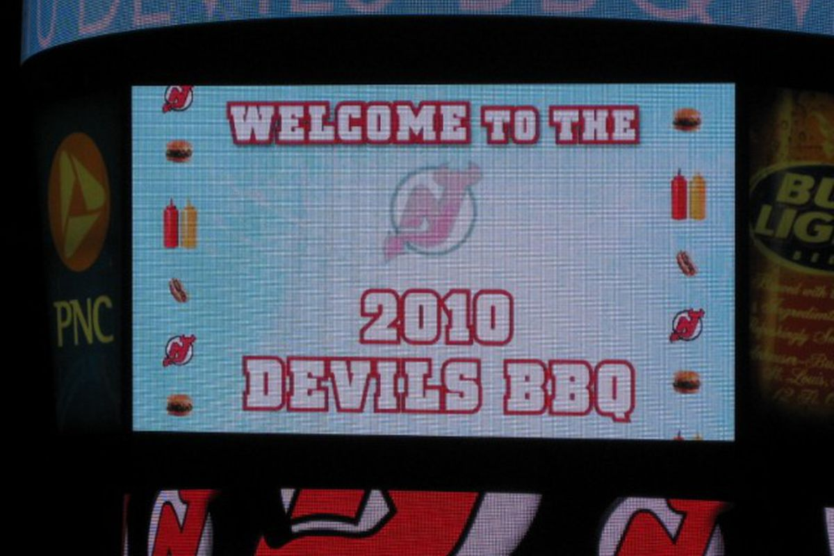 The Welcoming 2010 Devils BBQ Sign on the center screen over the rink.   Today was the second annual season ticket holder barbecue at the Prudential Center.