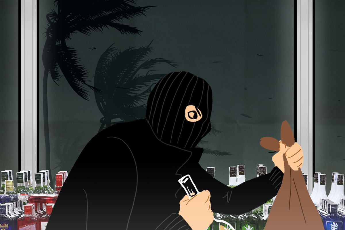 Cartoon illustration of someone robbing a bank with a hurricane in the backdrop