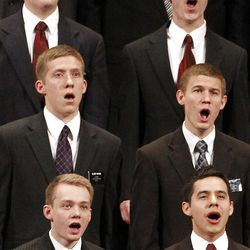 Elder David Archuleta, bottom right, sings with the missionary choir during the 182nd Annual General Conference for The Church of Jesus Christ of Latter-day Saints at the LDS Conference Center in Salt Lake City on Saturday, March 31, 2012.