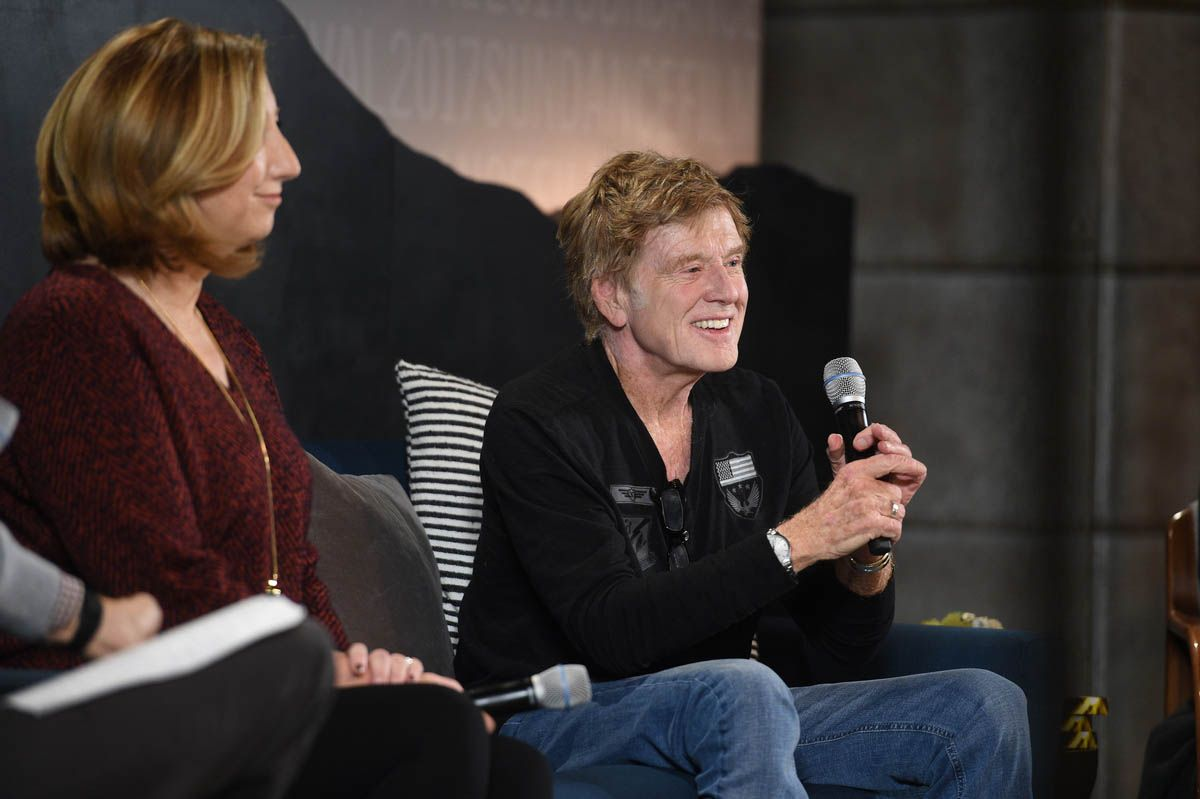 Sundance Institute Executive Director Keri Putnam and President and Founder of Sundance Institute Robert Redford at the Day One Press Conference of the 2017 Sundance Film Festival.
