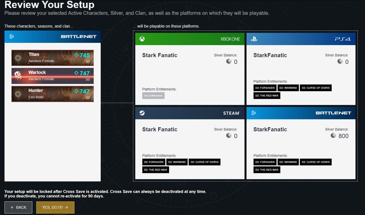 Destiny 2 cross-save setup, review your setup