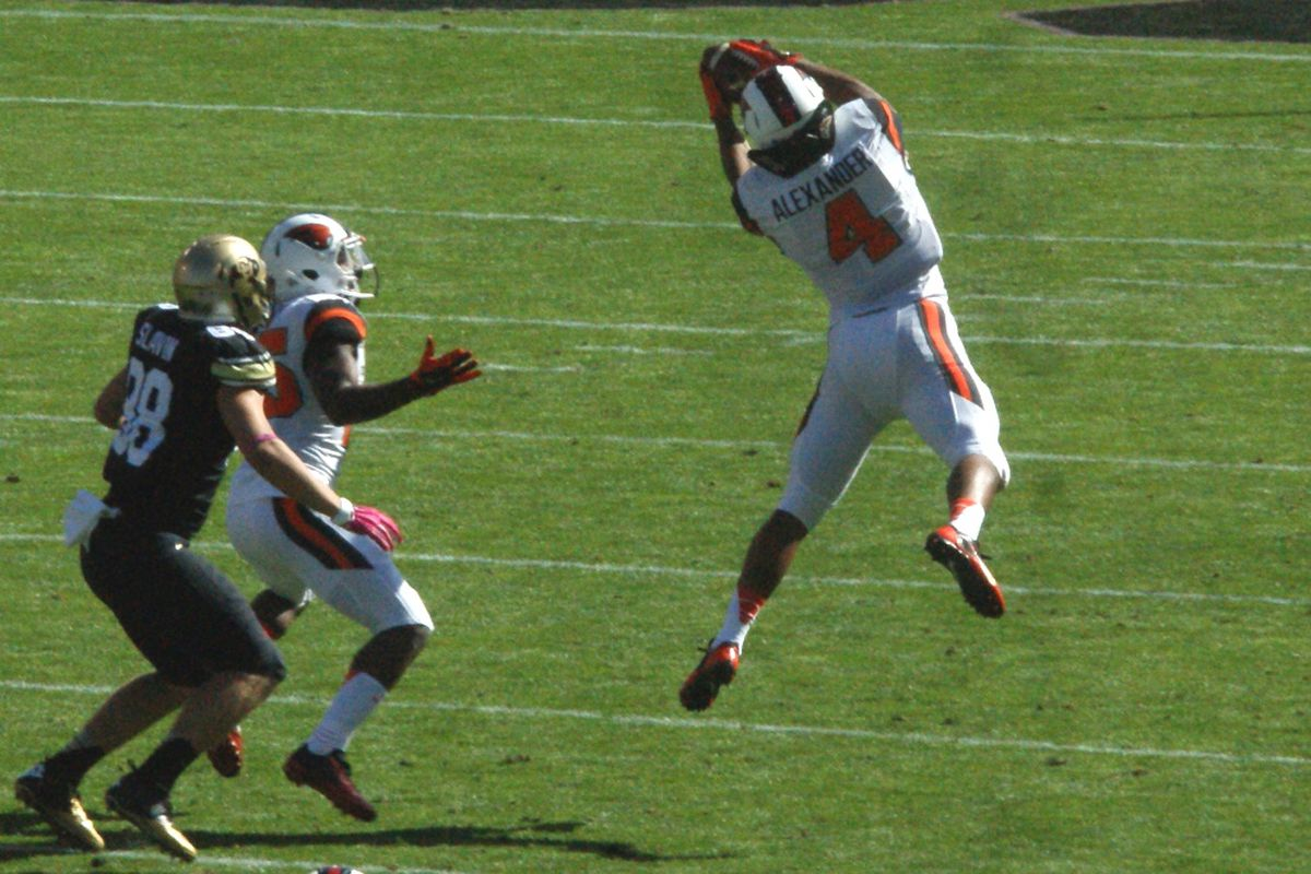 Oregon St.'s D.J.Alexander picks off a pass against Colorado. His senior season play also enabled him to pick off an NFL Draft selection.