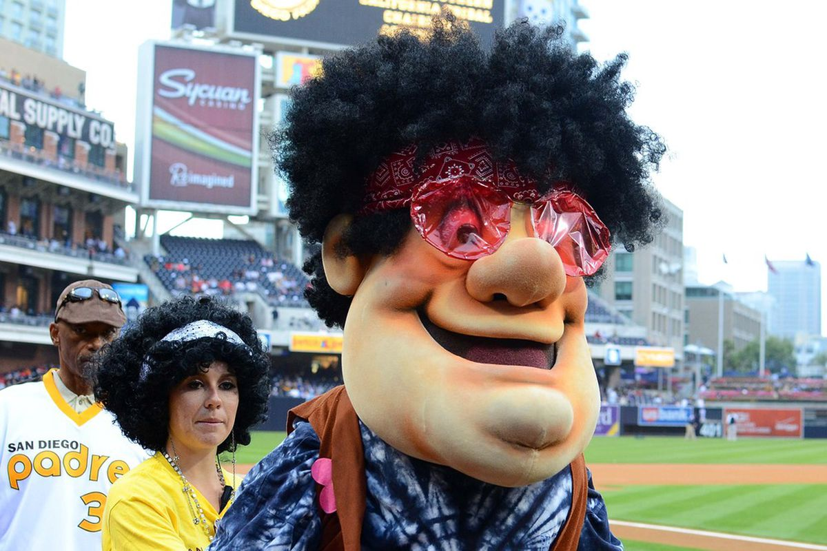May 18, 2012; San Diego, CA, USA; San Diego Padres mascot The Swingin Friar wears retro clothing as part of retro night before a game against the Los Angeles Angels at PETCO Park. Mandatory Credit: Jake Roth-US PRESSWIRE