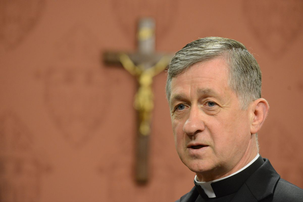 Archbishop Blase Cupich press briefing on European migrant relief, immigration, annulments, extended absolution for abortion, and Pope FrancisÕ U.S. visit. Monday, September 14, 2015 (Brian Jackson/For the Chicago Tribune)