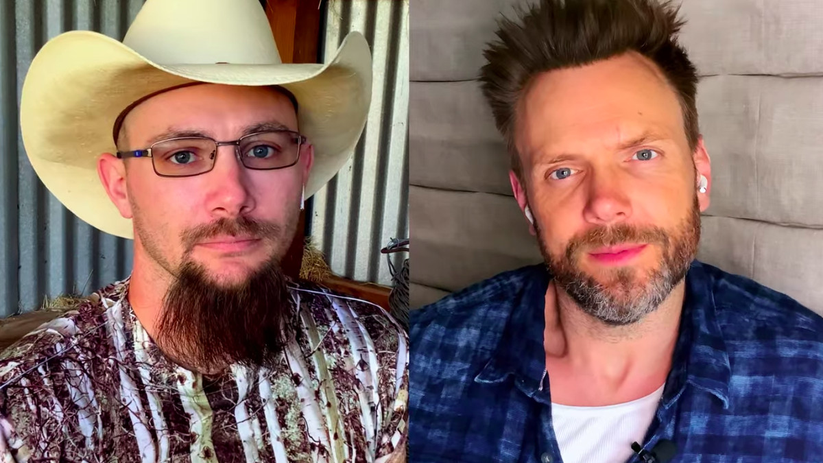 A split screen image with John Finlay, sporting a cowboy hat and camouflage shirt on the right, and Joel McHale on the left