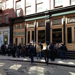 Wooster Street Social Club promised tattoos to the first 50 people, but it looked like over 50 were waiting for the doors to open at noon.