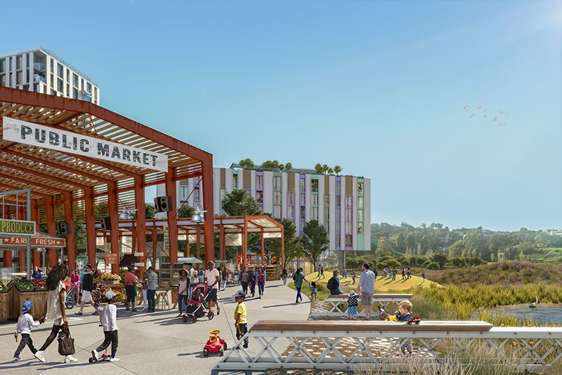 Rendering of a future scene with a large public market sign, small steel pier, and new residential buildings. There are people walking around with children.