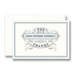 """<a href=""""http://www.barnesandnoble.com/p/home-gift-outdone-scripted-thank-you-set-of-10/22746469?ean=612460053184""""> Vera Wang Thank You cards</a>, $16 for set of 10 barnesandnobles.com"""