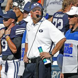 Brigham Young Cougars head coach Bronco Mendenhall as Brigham Young University defeats Weber State University in football 45-6 Saturday, Sept. 8, 2012, in Provo, Utah.