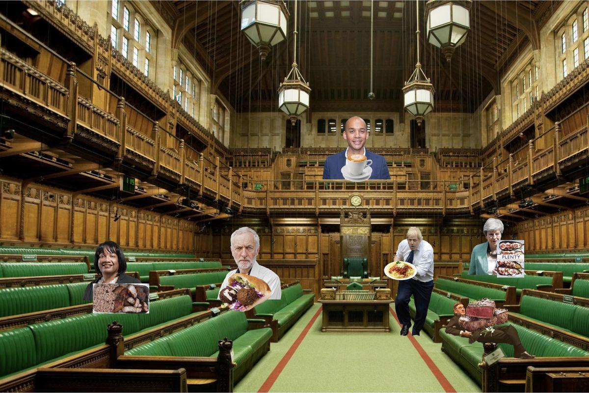 The House of Commons mapped with Jeremy Corbyn, Boris Johnson, Chuka Umunna, Jacob Rees-Mogg, and Theresa May