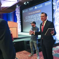 Former Utah House Speaker Greg Hughes chats prior to a virtual forum featuring the Republican primary gubernatorial candidates at the Grand America Hotel in Salt Lake City on Thursday, May 7, 2020.