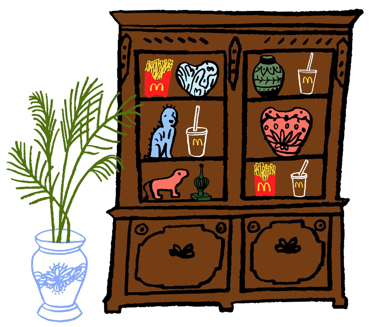 An illustration of a dining room cabinet filled with french fries and sodas.