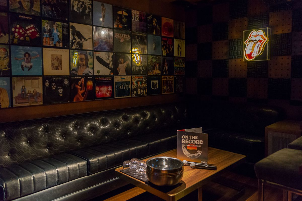 Karaoke room at On the Record