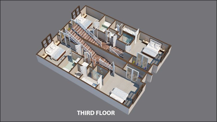 A rendering showing the third floor of a townhome in Atlanta with a gray backdrop.