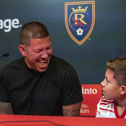 Real Salt Lake's goalkeeper Nick Rimando laughs with his son Jett Nicholas Rimando at a press conference at Rio Tinto Stadium in Sandy on Friday, Sept. 27, 2019. Rimando will play his last home game on Sunday.