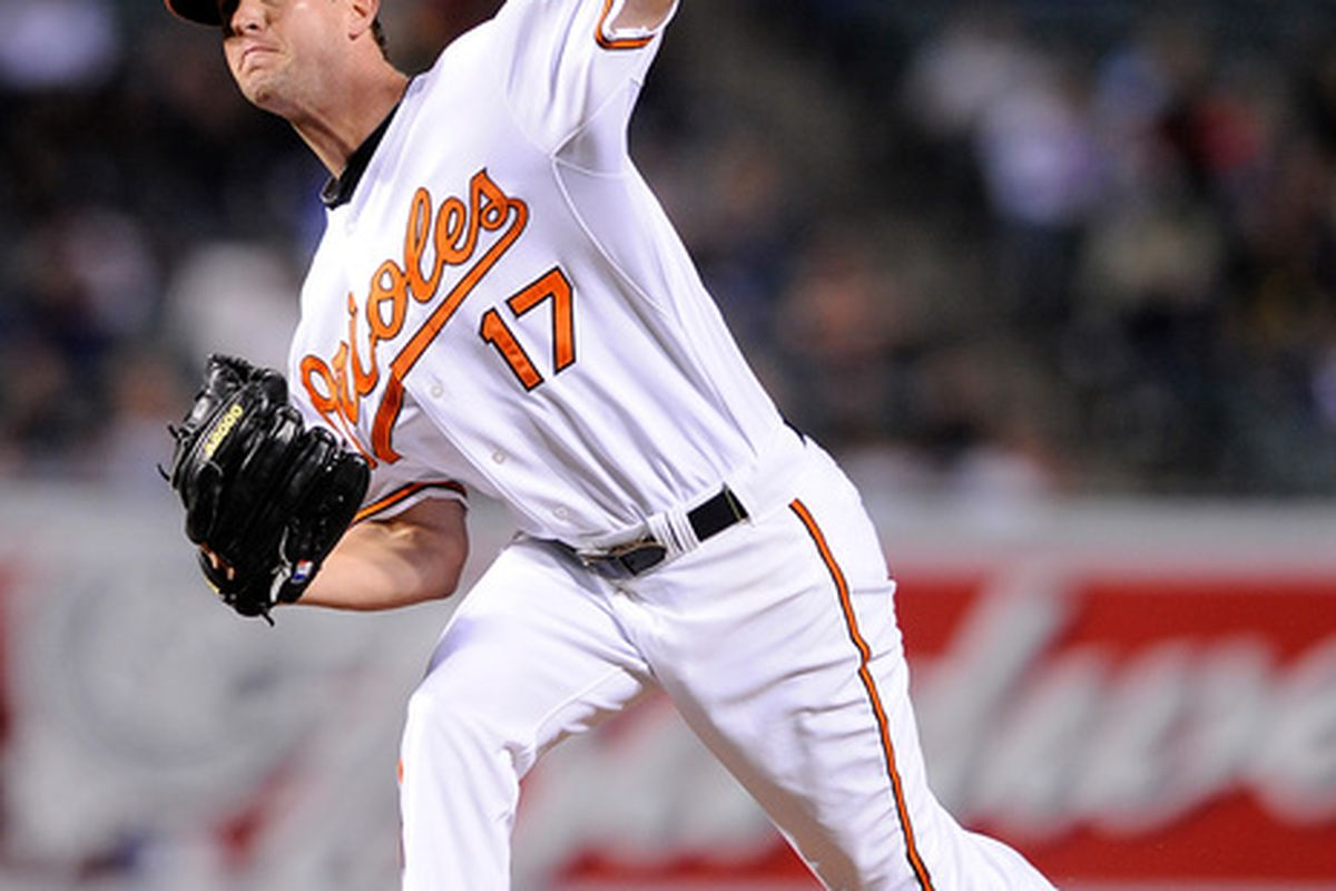 BALTIMORE - APRIL 29:  Brian Matusz #17 of the Baltimore Orioles pitches against the New York Yankees at Camden Yards on April 29, 2010 in Baltimore, Maryland.  (Photo by Greg Fiume/Getty Images)