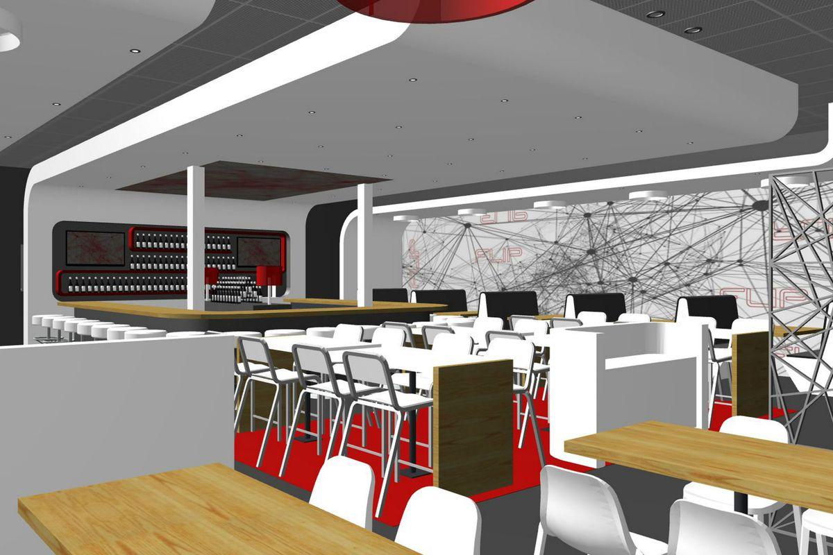 Digital rendering of FLIP Burger's interior