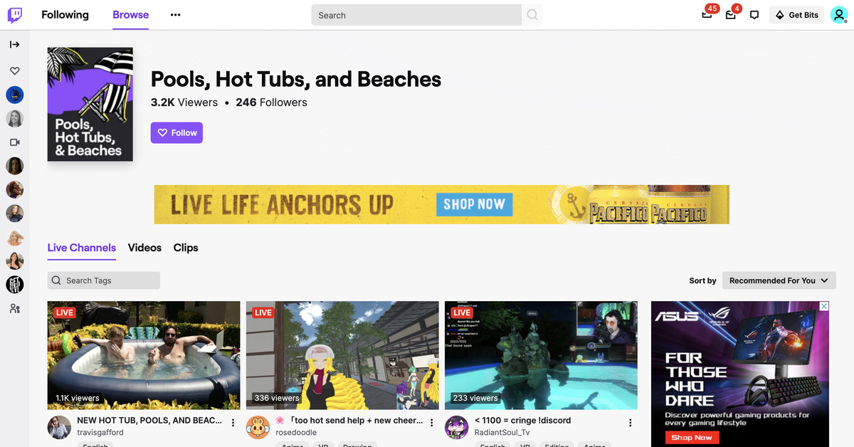Twitch launches a dedicated 'hot tubs' category after advertiser pushback