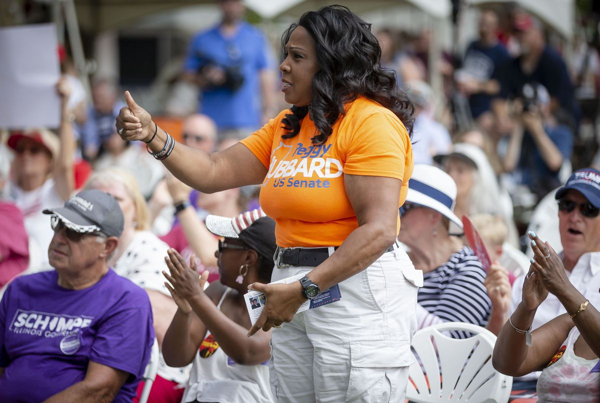 Peggy Hubbard, a Republican candidate for the U.S. Senate, gives a thumbs up during Republican Day at the Illinois State Fair on Thursday.