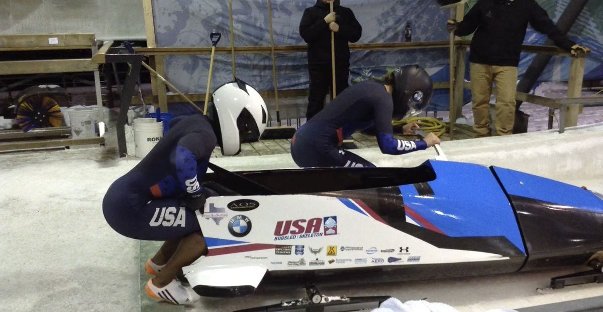 Sable Otey practices with the U.S. Olympic bobsledding team.