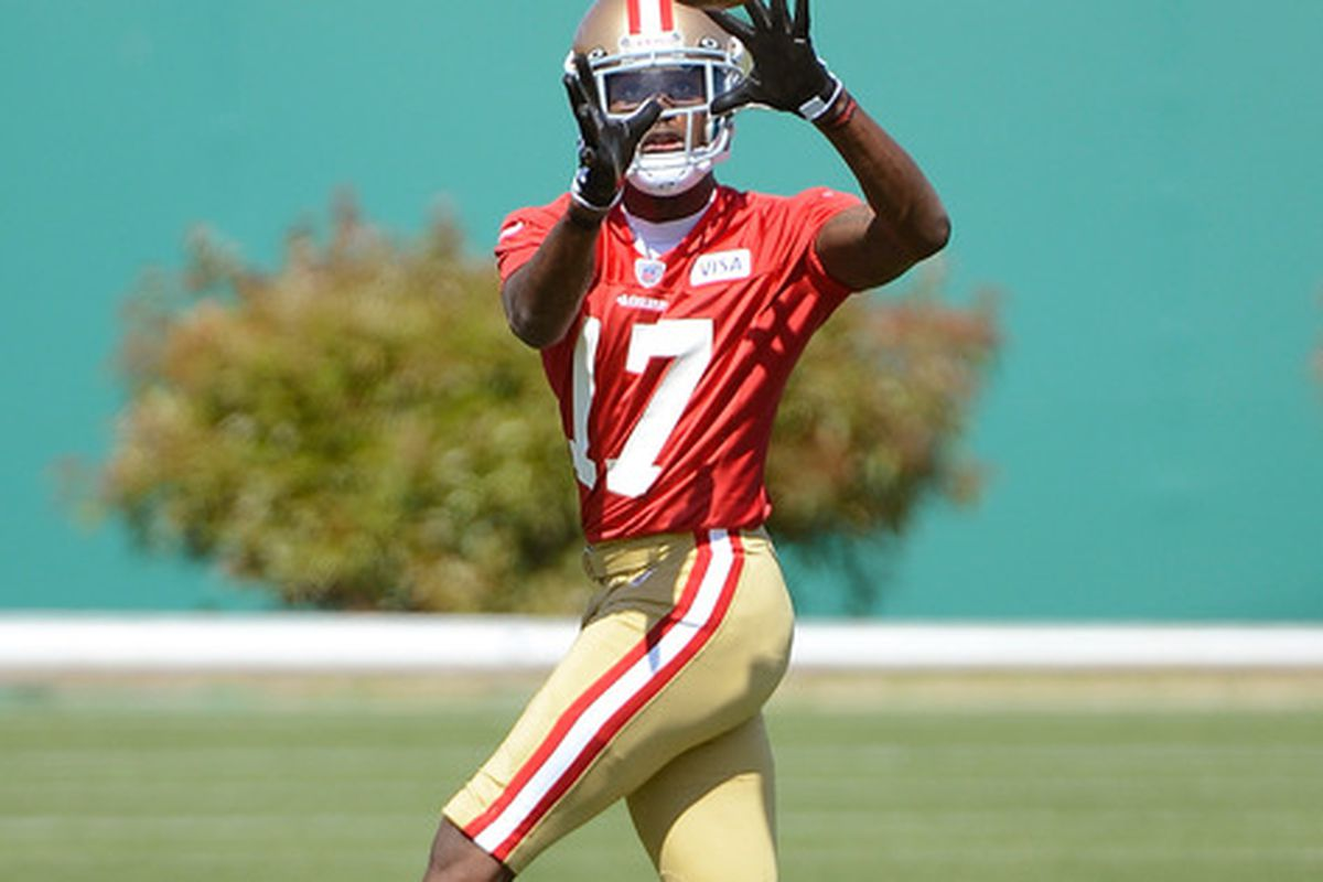 SANTA CLARA, CA - MAY 11:  A.J. Jenkins #17 of the San Francisco 49ers catches a pass during Rookie Minincamp at the San Francisco 49ers practice facility on May 11, 2012 in Santa Clara, California.  (Photo by Thearon W. Henderson/Getty Images)