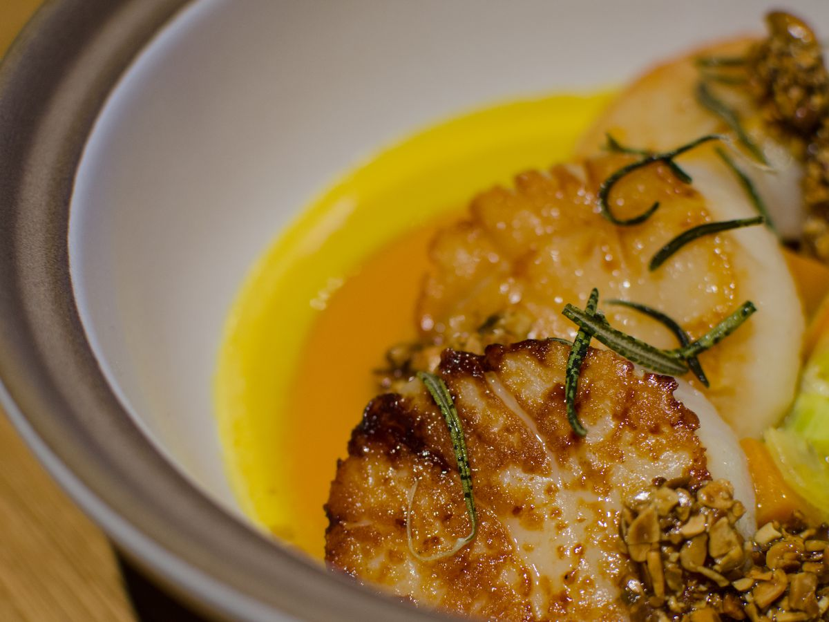 Seared scallops sit in a bowl on circles of orange and yellow purees, topped with herbs.