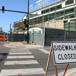11:09 a.m. Sidewalk closed sign on the northeast corner of Addison and Sheffield -
