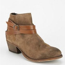 """""""I found my sole mate in these suede wrap ankle boots. The neutral tan goes with every outfit in my closet, and they're easy to slip off and on while juggling my laptop and twin boys at TSA."""" H by Hudson Horrigan, ankle boots, $285 at Urban Outfitters."""