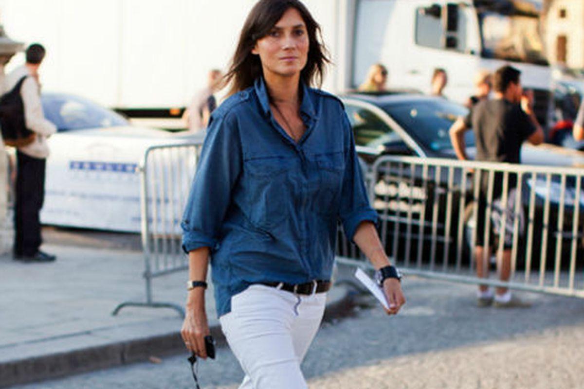 "Emmanuelle Alt in double denim. Image via <a href=""http://fashionfix.net-a-porter.com/newsflash/double-denim"">Net-a-Porter</a>."