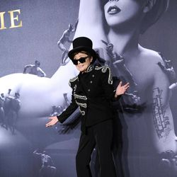 """Yoko Ono arrives at a """"Lady Gaga Fame"""" fragrance launch event at the Guggenheim Museum on Thursday, Sept. 13, 2012 in New York. The black tie masquerade event will feature a performance art piece by Lady Gaga, """"Sleeping with Gaga."""" The film for """"Lady Gaga Fame"""", directed by Steven Klein, will also be unveiled during the evening."""