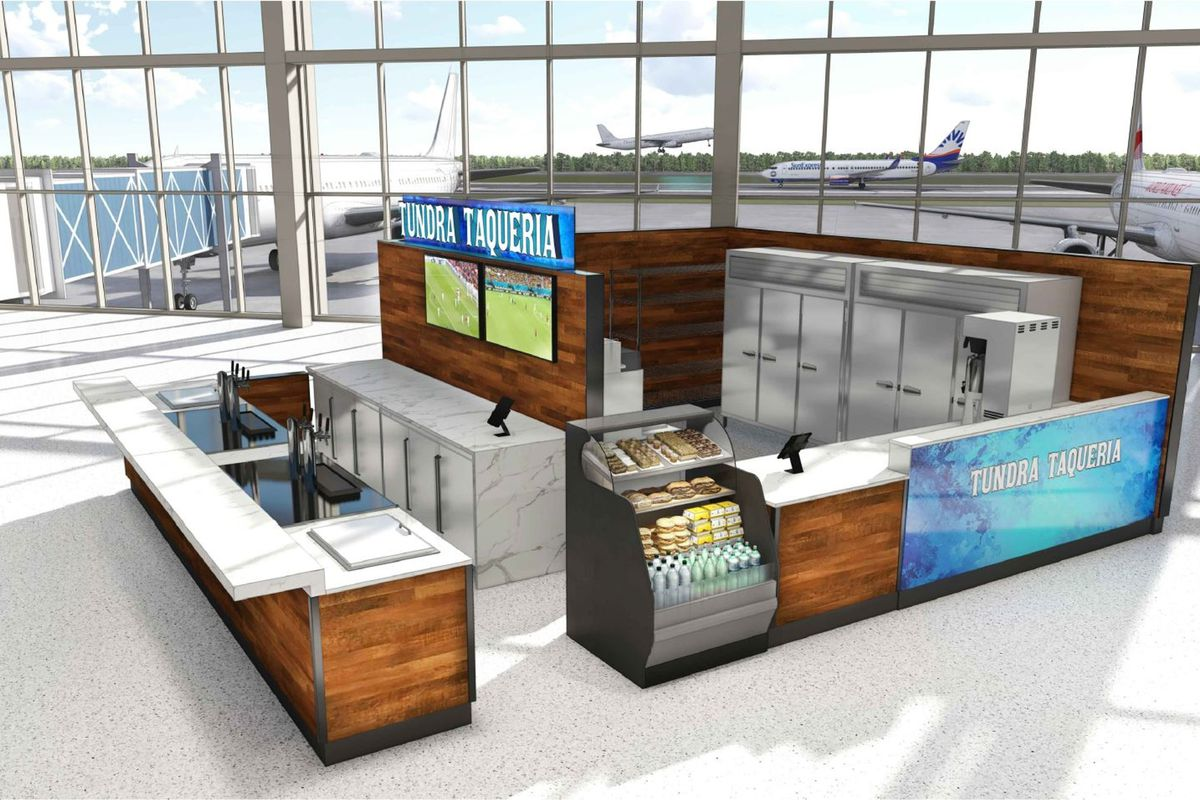 A computer rendering of a food kiosk with a counter for seating called Tundra Taqueria at Sea-Tac airport