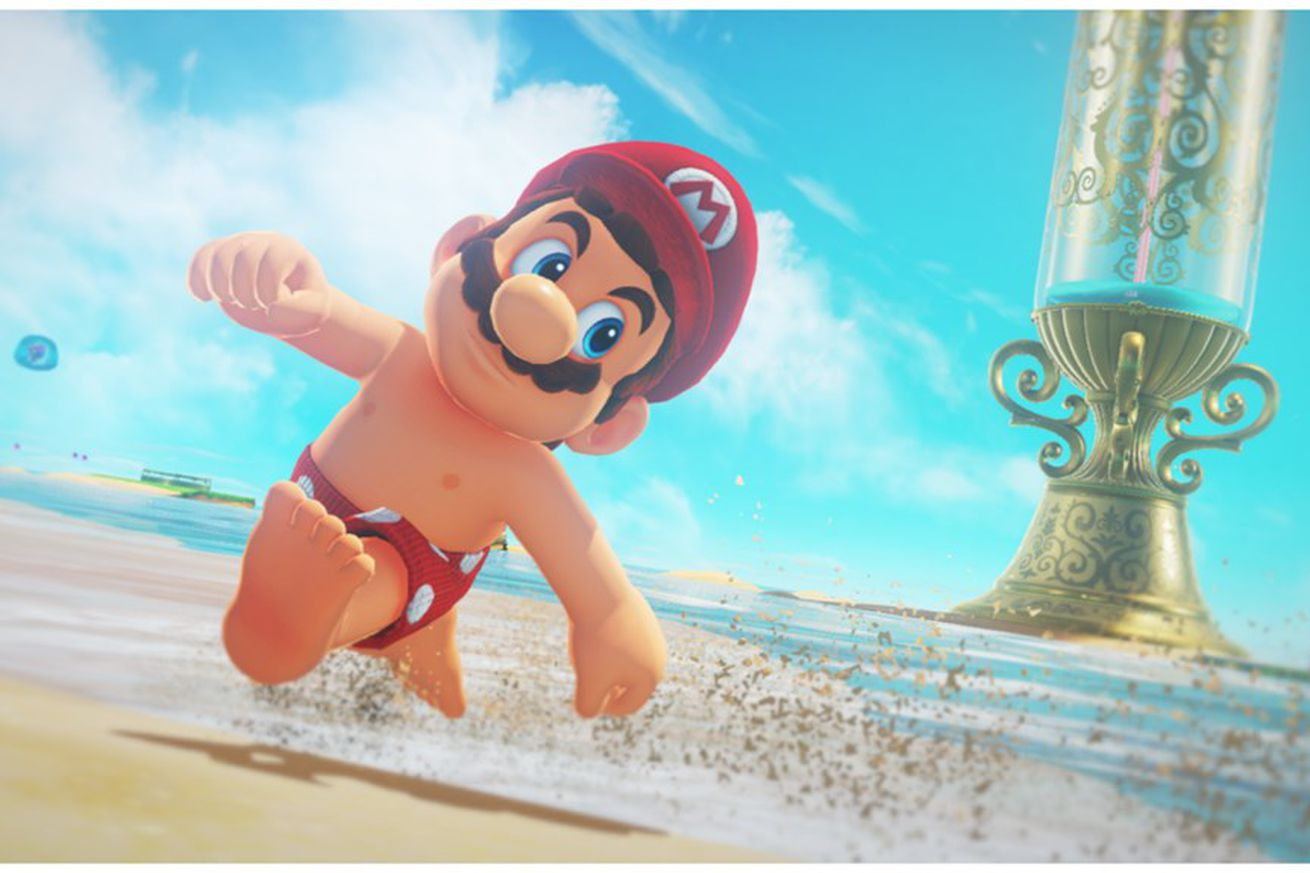 fans are competing to see how quickly they can get mario topless