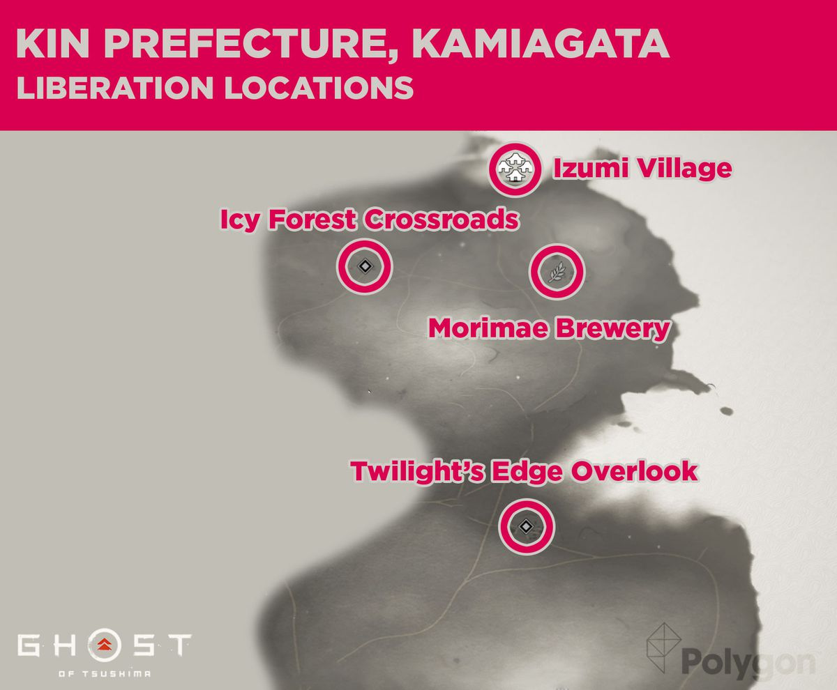 Kin prefecture in Ghost of Tsushima and its liberation locations including: Twilight's Edge Overlook, Morimae Brewery, Izumi Village, and Icy Forest Crossroads.