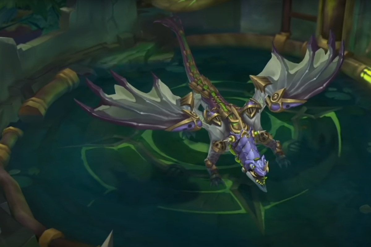 League of Legends - the Chemtech Dragon, a big dragon with augmented metal parts and chemicals strapped to it, roars in its pit.
