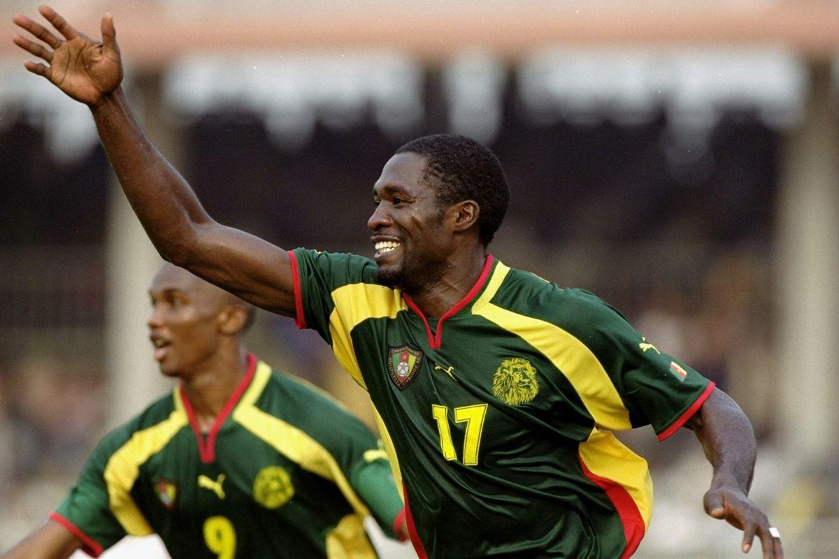 arc Vivien Foe celebrates for Cameroon