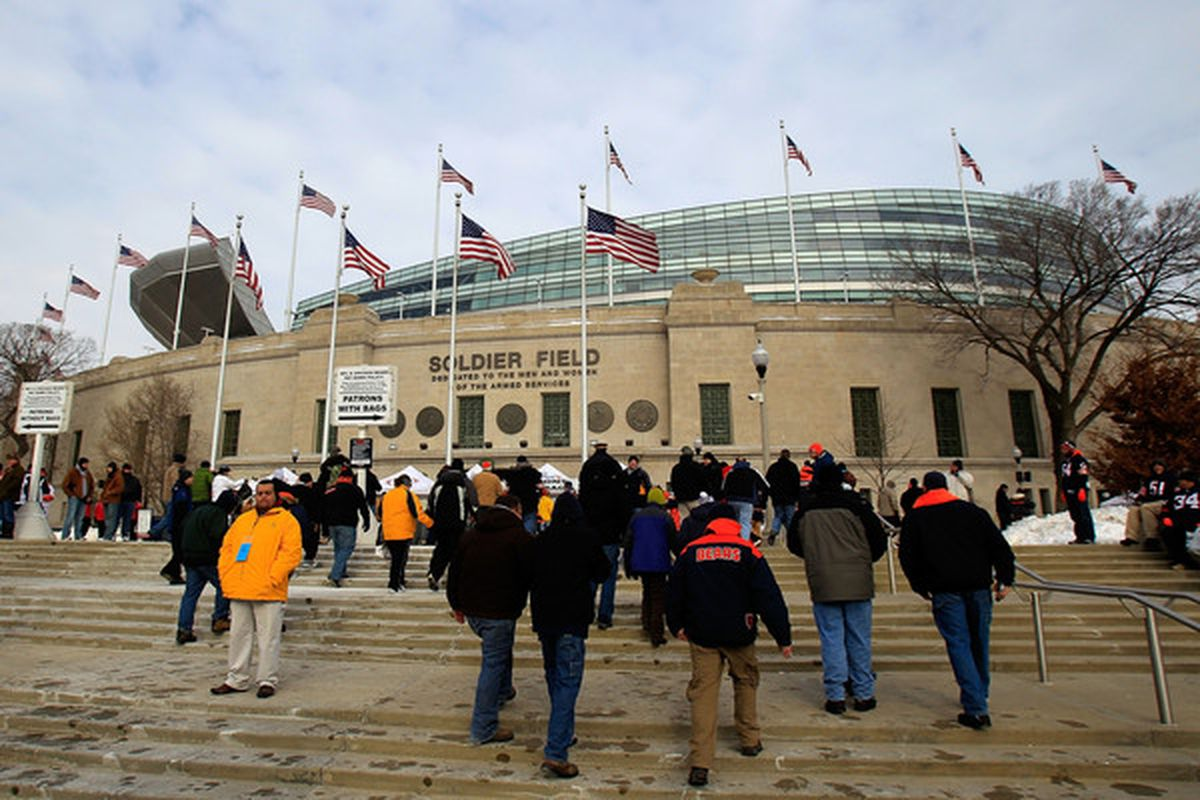 CHICAGO IL - JANUARY 16:  A general view of the exterior of Soldier Field before the 2011 NFC divisional playoff game between the Chicago Bears and the Seattle Seahawks on January 16 2011 in Chicago Illinois.  (Photo by Jonathan Daniel/Getty Images)