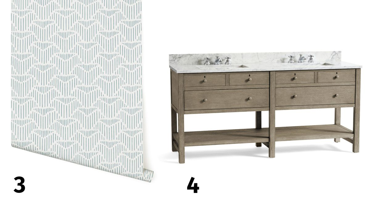 Spring 2021, Before & After Bath: Same Space, Fresh Look, wallpaper roll, vanity