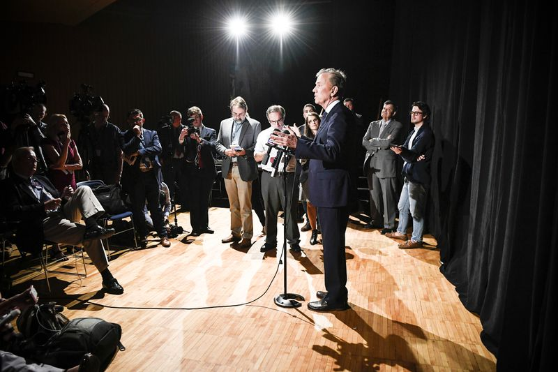 Democratic Party candidate Ned Lamont, speaks to the media after a gubernatorial debate at the University of Connecticut in Storrs, Conn., on Sept. 26, 2018.