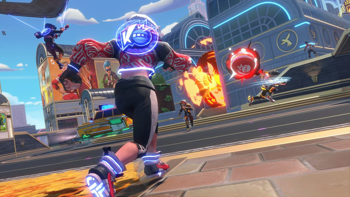 Colorful characters in a futuristic game of dodgeball in Knockout City