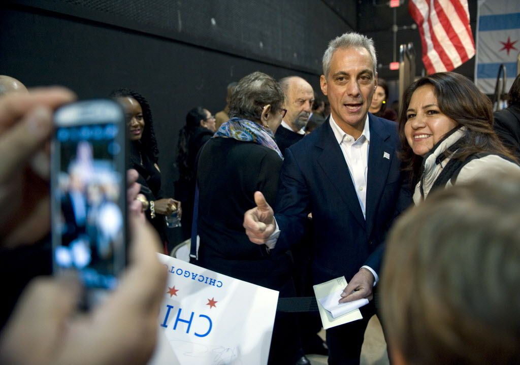 Mayor Rahm Emanuel kicking off his re-election campaign in December 2014 at Cinespace Chicago Film Studios.   Richard A. Chapman / Sun-Times