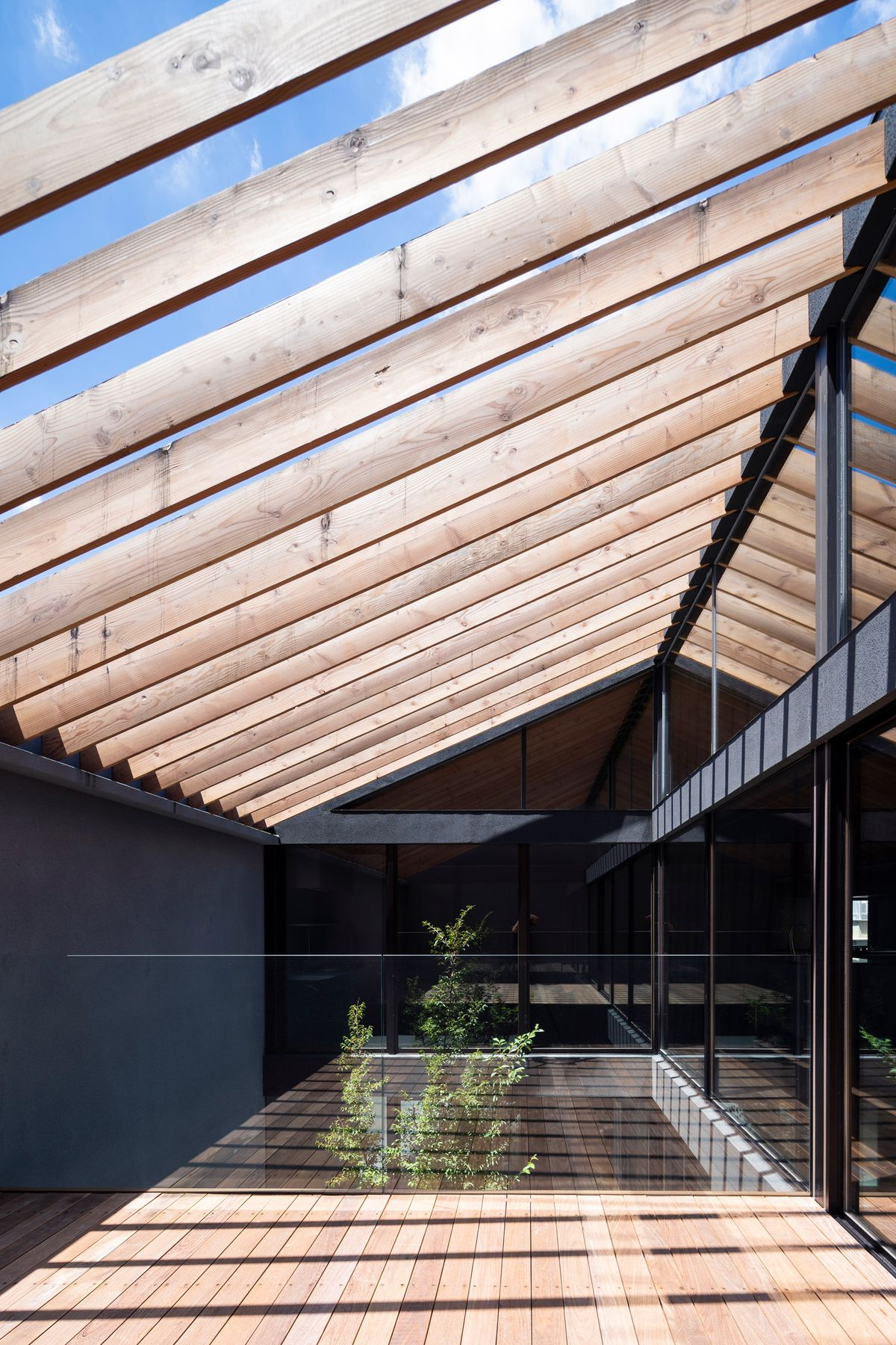 Courtyard with exposed wooden rafters