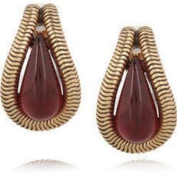 """<a href=""""http://www.theoutnet.com/product/332284""""><b>Oscar de la Renta</b> Gold-tone resin earrings</a>,  $75 (were $150)"""