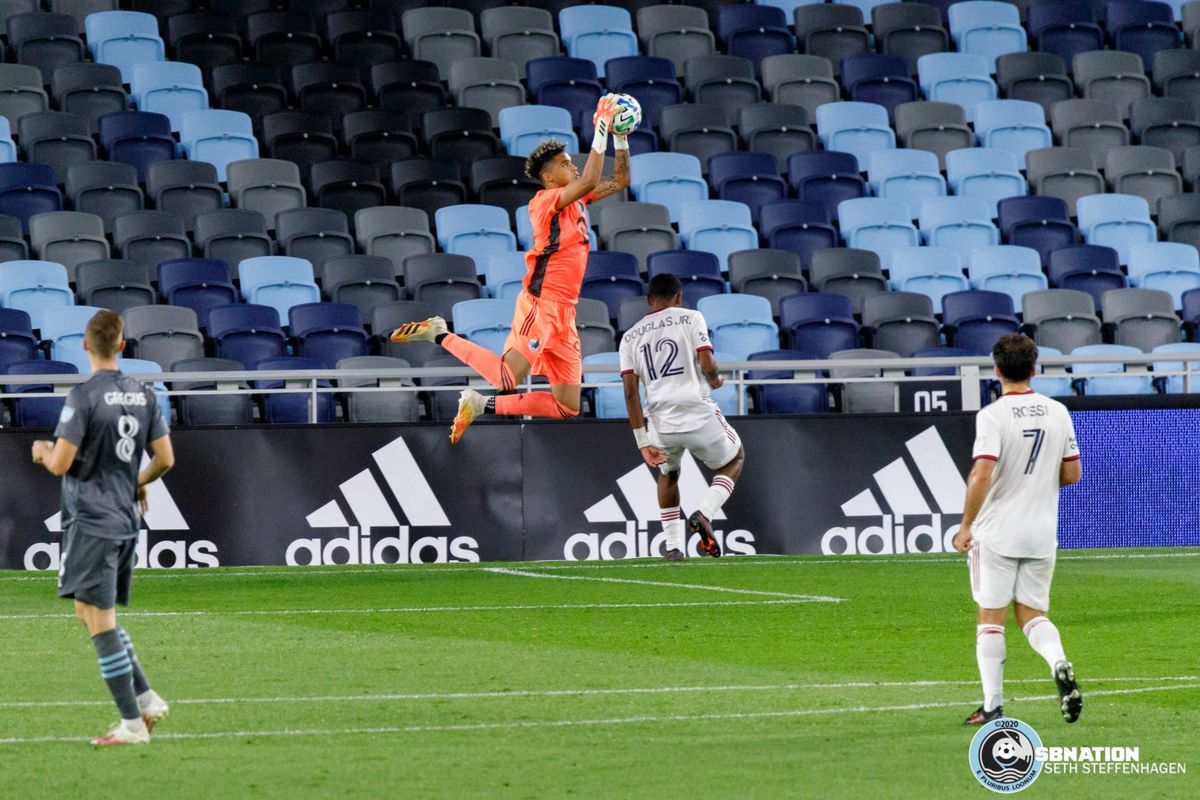 September 6, 2020 - Saint Paul, Minnesota, United States - Minnesota United goalkeeper Dayne St. Clair (97) leaps to catch the ball during the match against Real Salt Lake at Allianz Field.