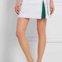 The green and purple panels on this pointelle knit tennis skirt are the colors of the Wimbledon (which happen to be in full swing at the moment).