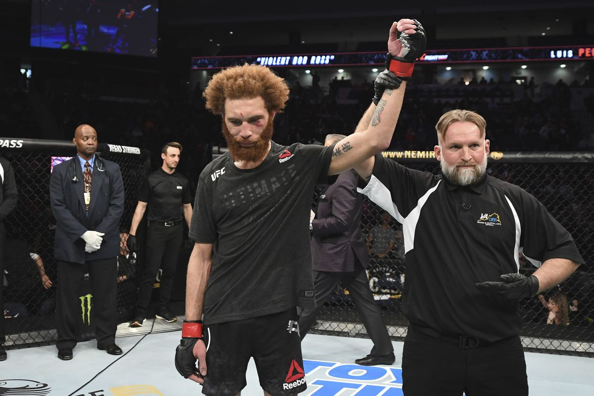 Luis Pena reacts after defeating Steve Garcia in their lightweight bout during the UFC Fight Night event at Chartway Arena on February 29, 2020 in Norfolk, Virginia.